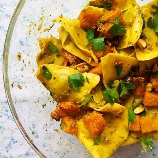 organic ravioli with pumpkin pesto & pistachio