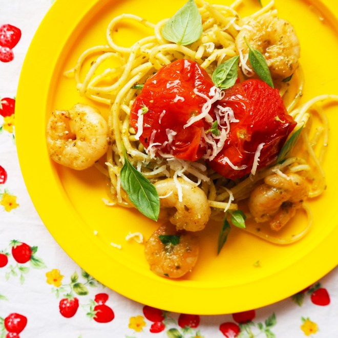 pesto prawn spaghetti with oven roasted truss tomatoes