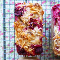 raspberry, pear & coconut loaves