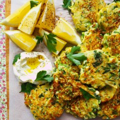 zucchini, brussel sprout & halloumi fritters
