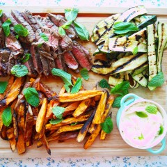 marinated rump steak w' crispy sweet potato wedges, char grilled zucchini and lime yoghurt