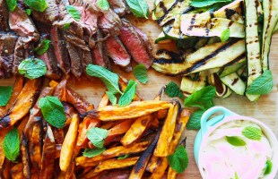 marinated rump steak w' crispy sweet potato wedges, char grilled zucchini and lime yoghurt