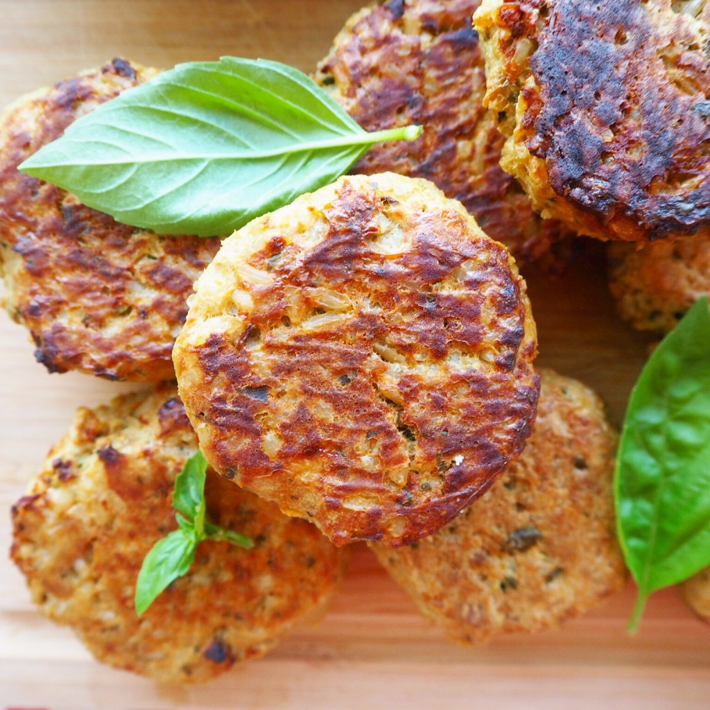 baked tuna patties with pea hummus & oven roasted truss tomatoes