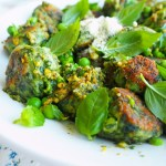 pea spinach & ricotta gnocchi with mint & pistachio pesto
