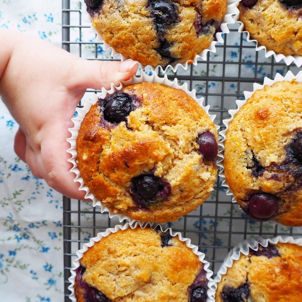 blueberry lemon and spelt muffins