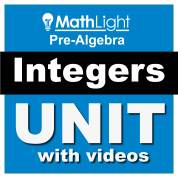 integers pre algebra unit - adding integers, subtracting integers, multiplying integers, adding like terms, distributive property
