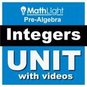 integers pre algebra unit - adding integers, subtracting integers, multiplying integers, adding like terms, distributive property