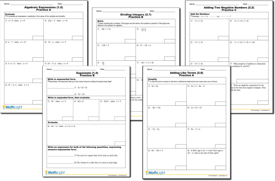 math algebra practice homework worksheets