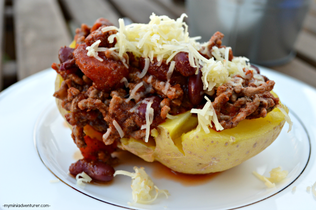 Chili Stuffed Baked Potatoes