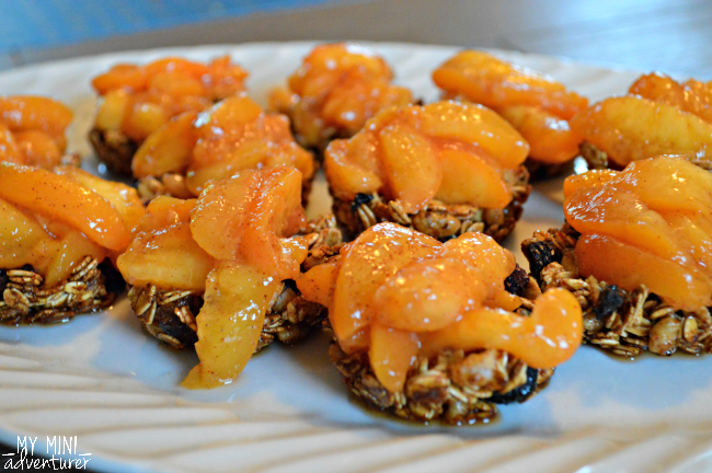 granola cups with peaches