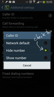 Hide Android Number