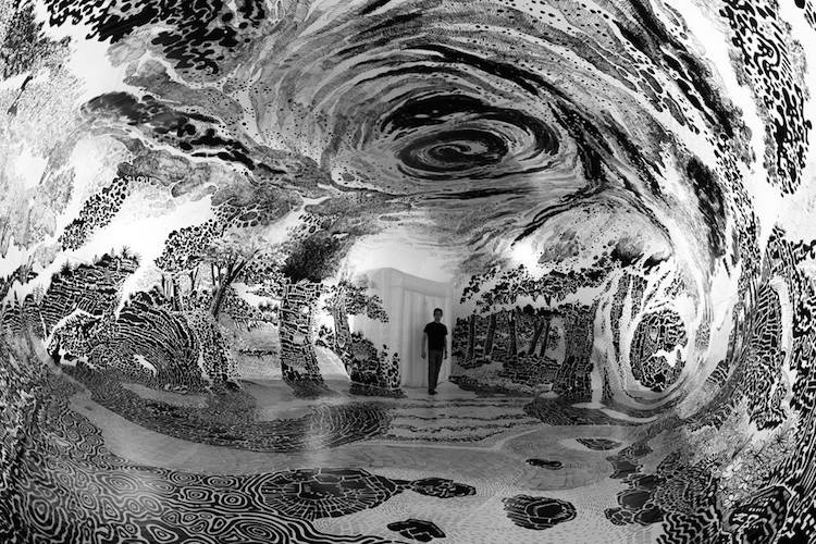 Immersive Installation Art Fills Dome with 360 Degree Landscape Drawing Dome Landscape Drawing Installation Art by Oscar Oiwa