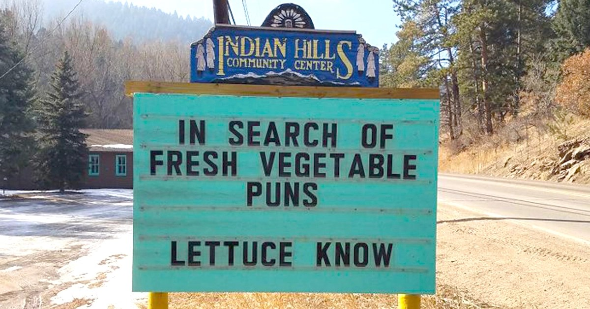 India Hills Community Center Displays Sign with Countless Funny Puns