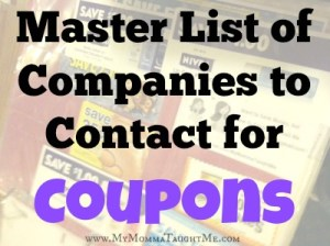 Master List of Companies to Contact for Coupons