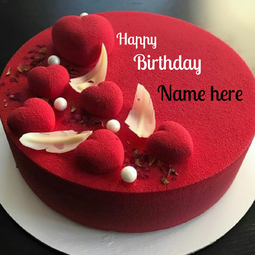 Write Name on Birthday Cake  Bracelets  Necklaces  Pendant and Wish     Create Name Birthday Cake For Friend With Red Heart