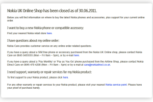 Nokia UK & USA online store gone forever!
