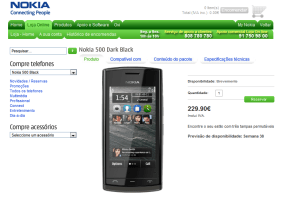 Nokia 500 available in 2 weeks for €229,90