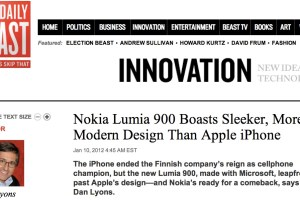 "Fake Steve Jobs, Dan Lyons, ""Nokia Lumia 900 Boasts Sleeker, More Modern Design Than Apple iPhone"""