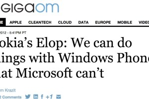 Gigaom with Stephen Elop: Nokia can do things with WP that MS can't