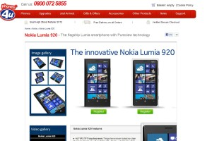 Nokia Lumia 920 UK listings at Phones4U, Expansys and Vodafone