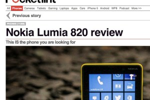 "Pocket-Lint:  Nokia Lumia 820 Review – ""This IS the phone you are looking for""."