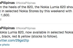 Nokia Lumia 820 available in the Philippines, 620 coming on the weekend.