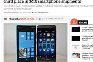 Windows Phone overtakes BlackBerry – now third place in smartphone shipments