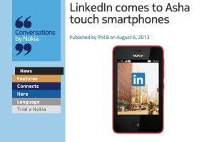 Asha Touch gets LinkedIn app