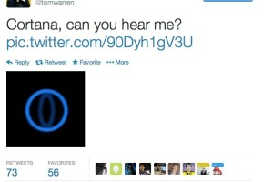 Blue Eye of Sauron: Cortana, can you hear me? Image of Cortana appears.