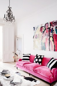 THE DECORISTA - PINK VEVET SOFA - AMAZING ART!