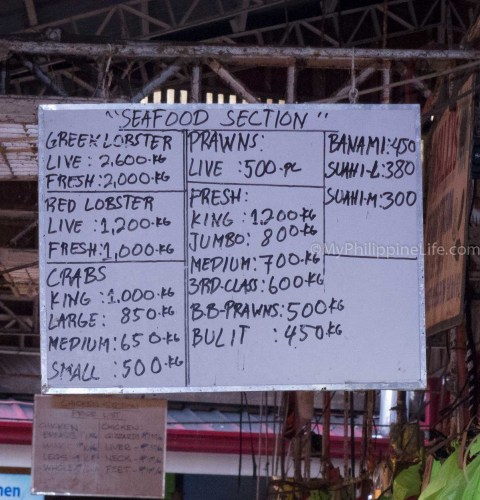 June 2013 seafood prices. These are retail prices, very open to negotiation.