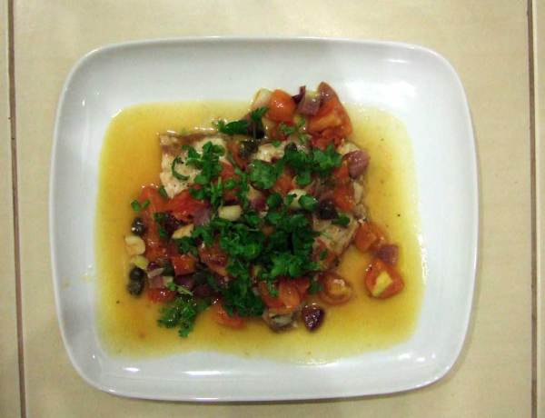 Grouper with cilantro, capers, tomatoes and onion