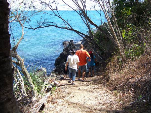 The trail follows the shore with beautiful vistas.