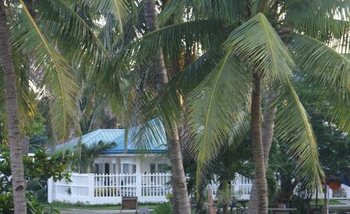 Our apartment is in this duplex building.  Photo is taken from the beach