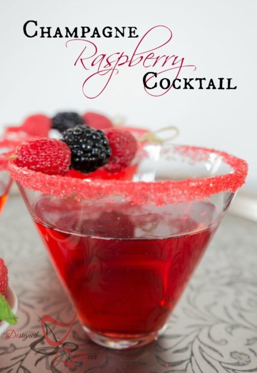 at Designed Decor shows us how to make a Champagne Raspberry Cocktail ...