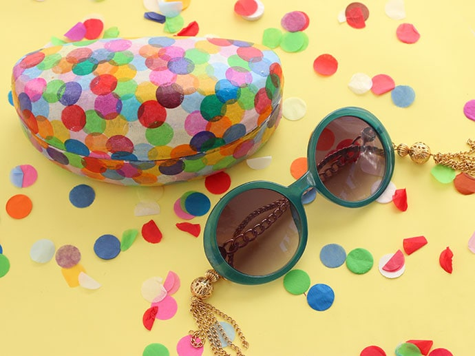 Upcycle Style: Confetti Covered Sunglasses Case