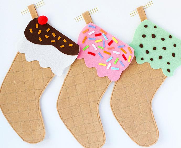 DIY Ice Cream Cone Christmas Stocking with Free Pattern