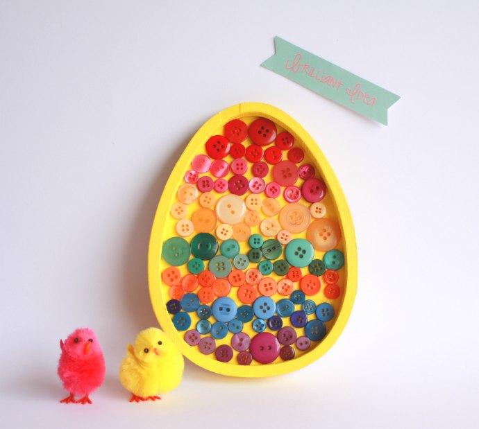 Kids Craft: Easter Egg Button Art