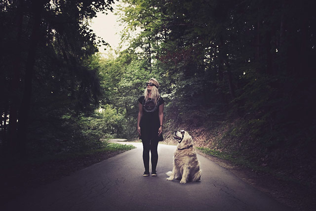 Girl with a dog picture idea