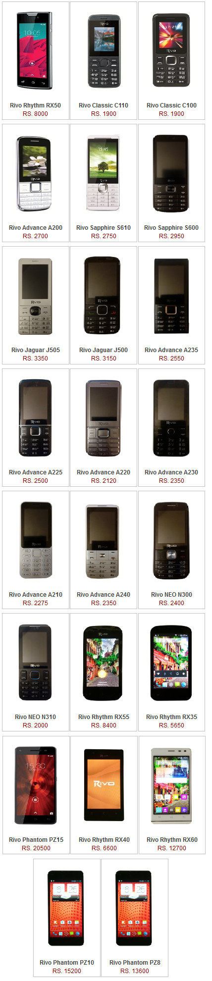 Top Rivo Mobile Phone Price in Pakistan Specification Pictures Features