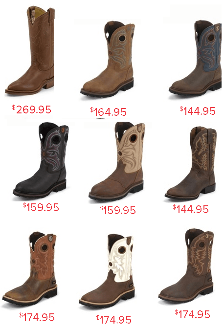 Tony Lama Men's Western and Work Boots Price Images Size Colors Range For Summer
