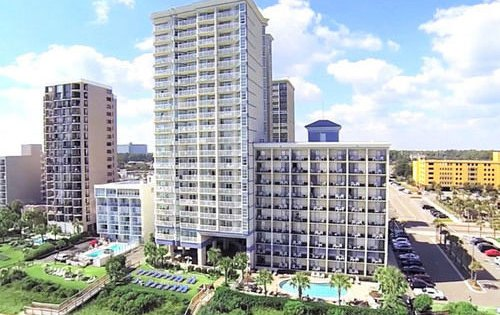 View of the Carolinian Beach Resort in Myrtle Beach from the Oceanview