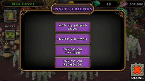 Invite friends menu