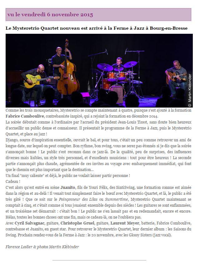 retour presse La ferme à Jazz