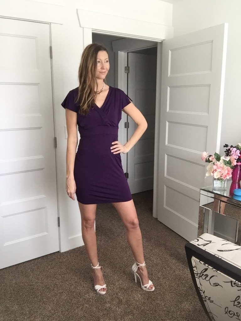 Pretty Purple Sleeve Mini Dress with cute V back