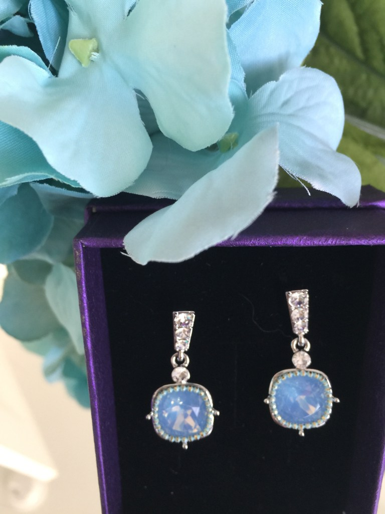 blue gemstone square earrings
