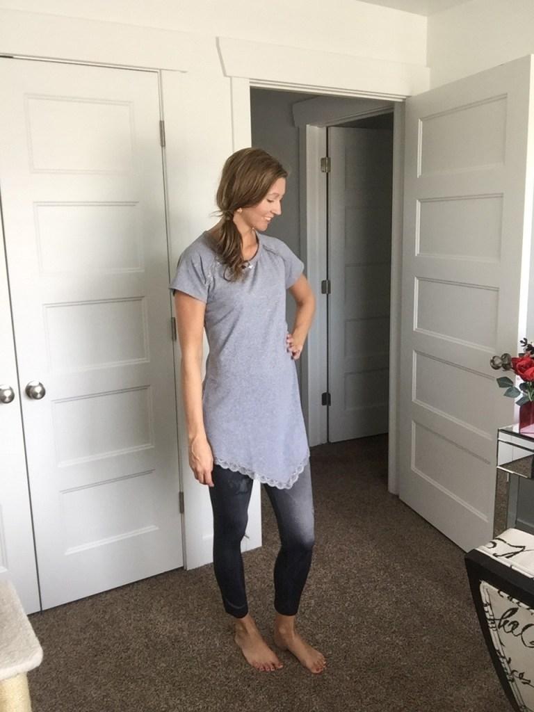Gray handkerchief tunic and denim leggings