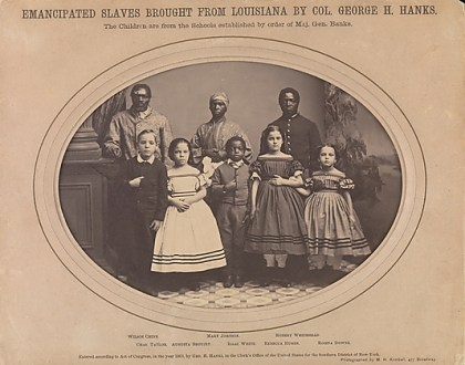 This photograph of temancipated slaves was taken by Myron H. Kimball in 1863