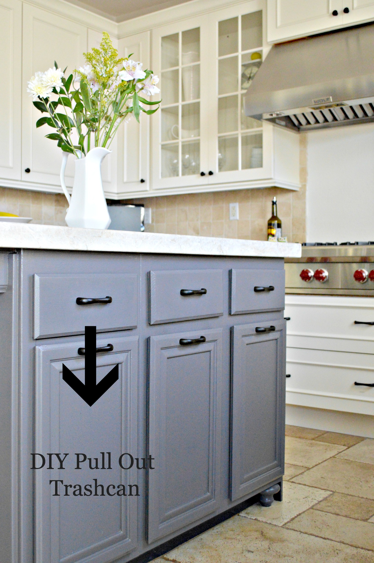 turn a door and a drawer into a pull out trash can pull out kitchen cabinet Kitchen Island DIY Pull Out Trashcan
