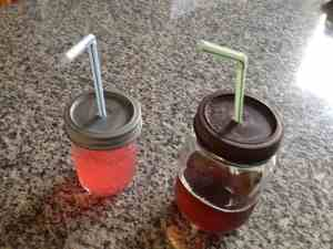 ball jars lids and straws